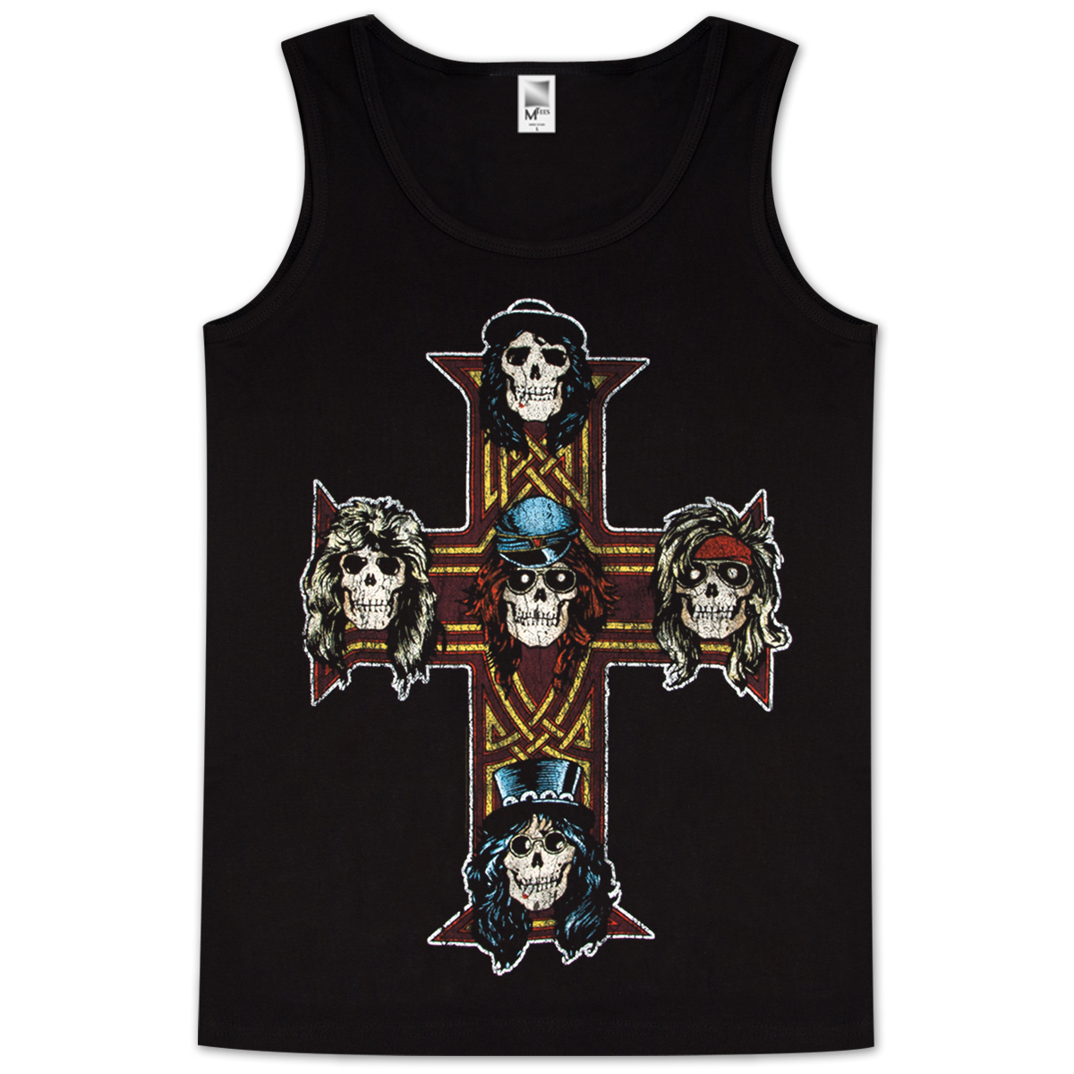 Guns & Roses Vintage Cross Mens Tank Top
