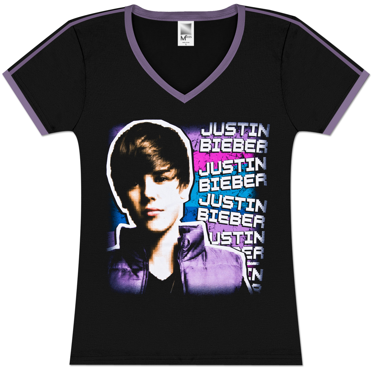 justin bieber pixel girlie soccer t shirt musictoday. Black Bedroom Furniture Sets. Home Design Ideas