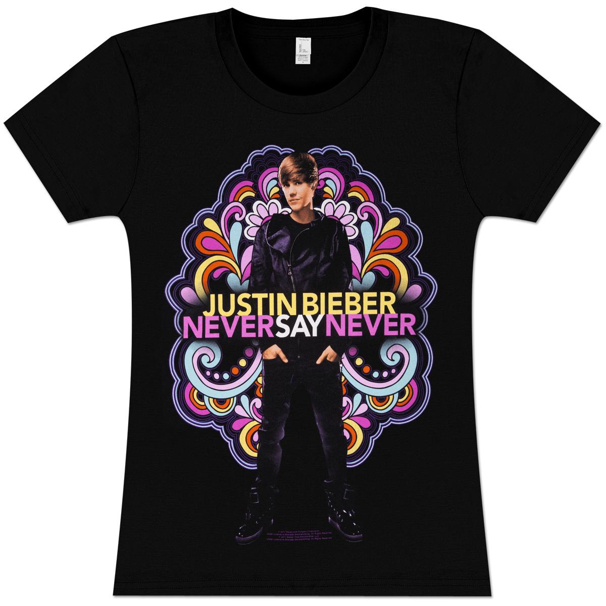 Justin Bieber Color Swirls Girlie T-Shirt
