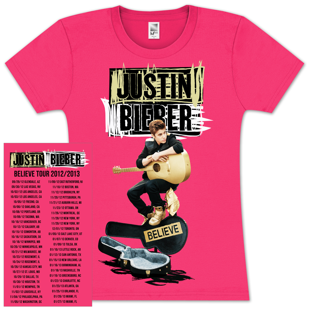 justin bieber scribble guitar case girlie t shirt. Black Bedroom Furniture Sets. Home Design Ideas