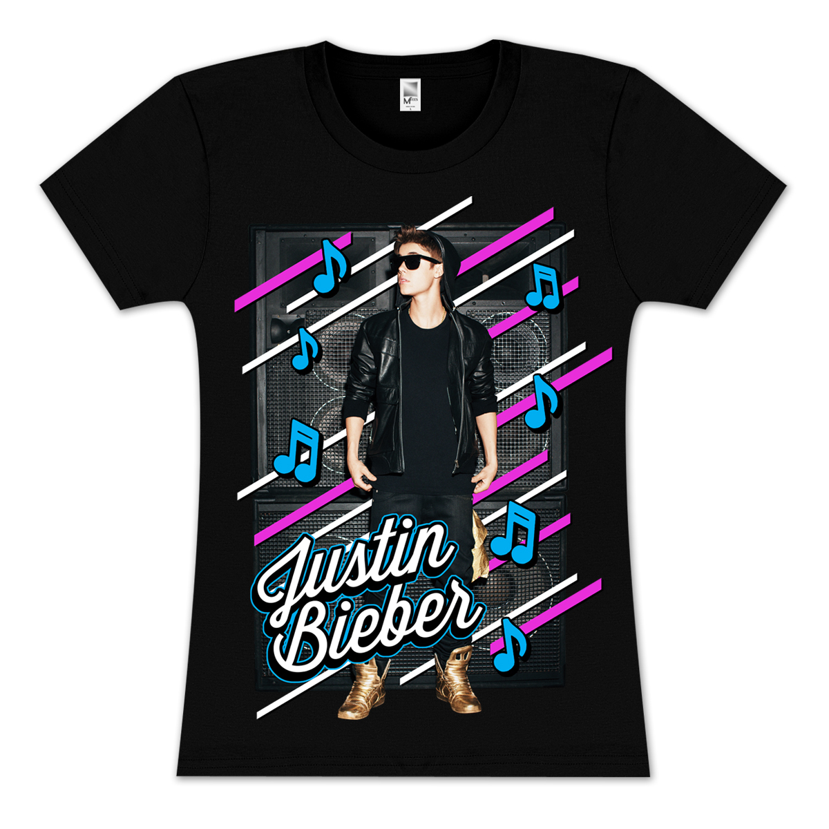 Justin Bieber Music Notes Youth Girlie T Shirt