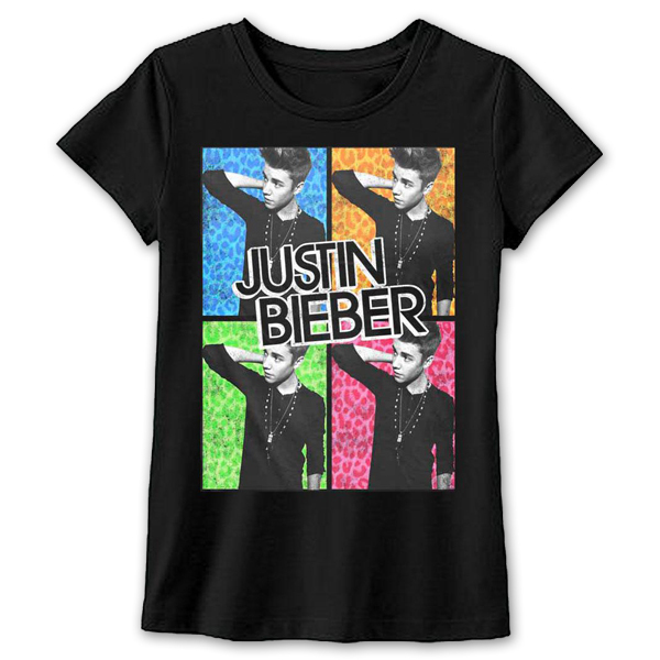 Justin Bieber Quad Photo Girls T-Shirt