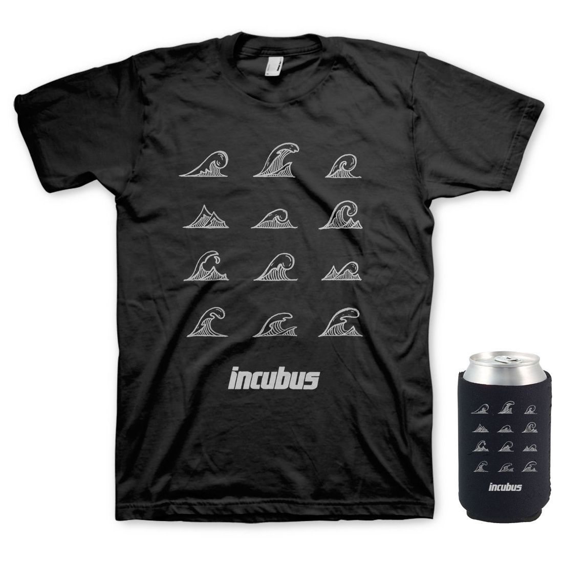 Incubus waves t shirt koozie bundle musictoday superstore for Shirts and apparel koozie