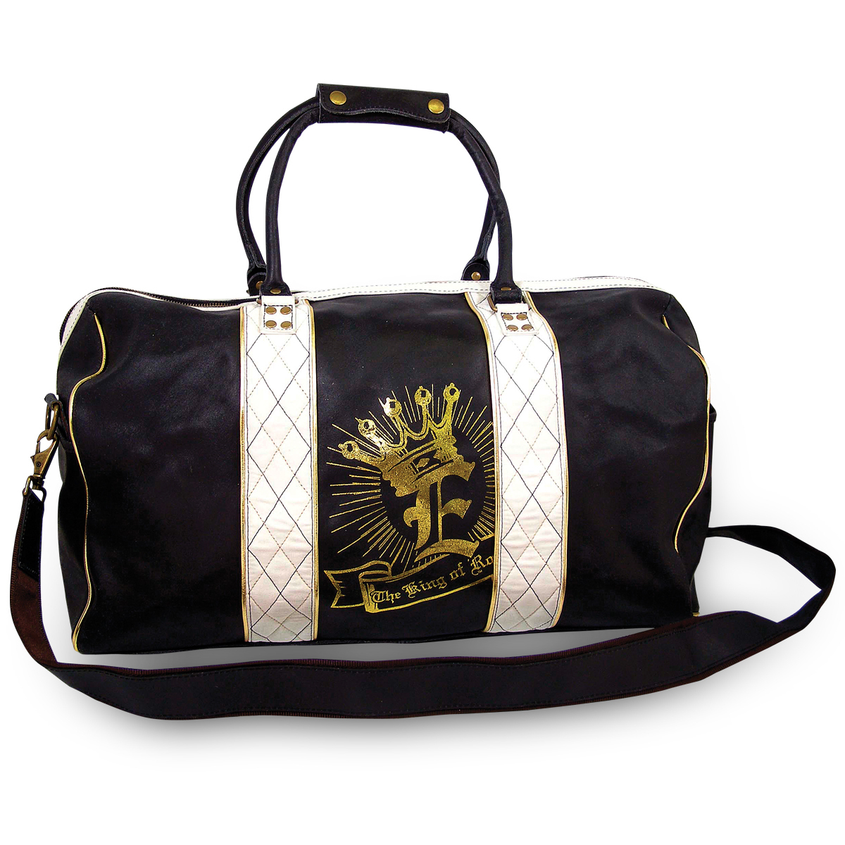 Elvis The King of Rock Black Leather Duffle