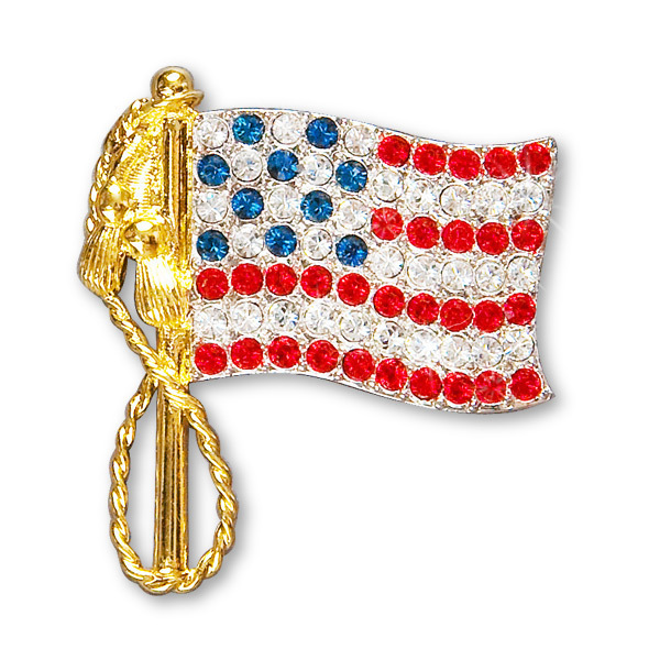 Elvis American Flag Pin