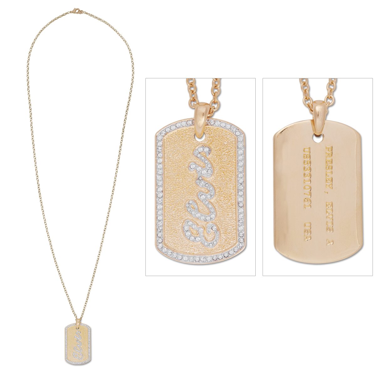 Elvis Script Dog Tag Necklace
