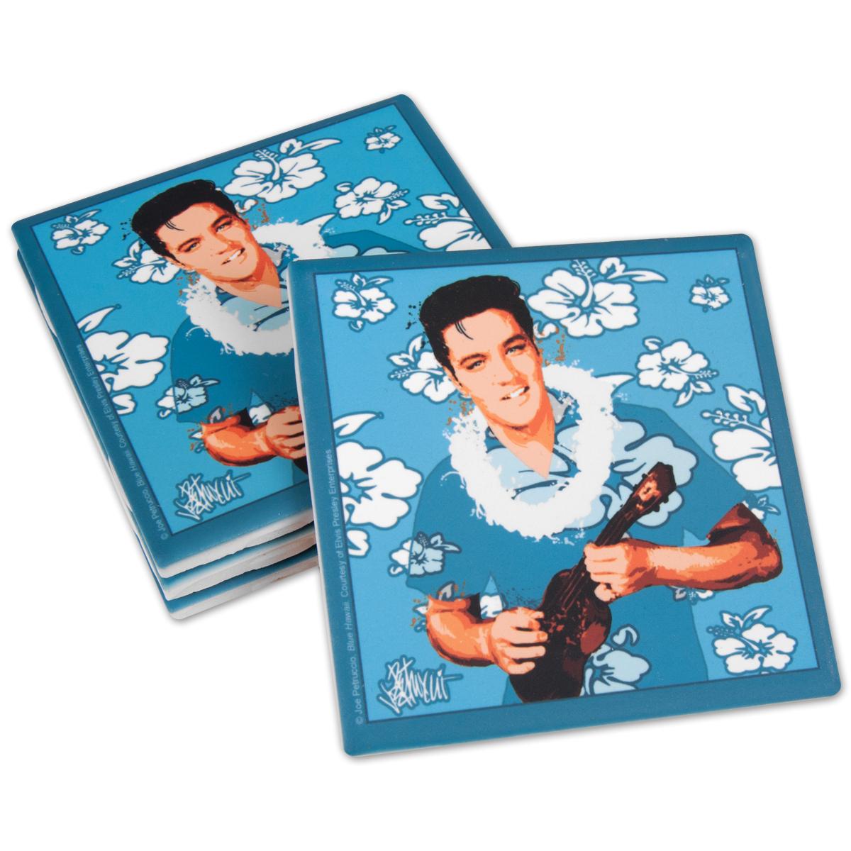 Elvis Blue Hawaii Ceramic Coasters Set of 4