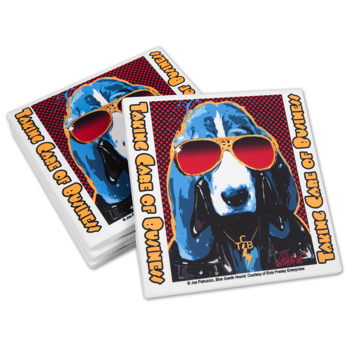 Elvis TCB Hound Ceramic Coasters Set of 4