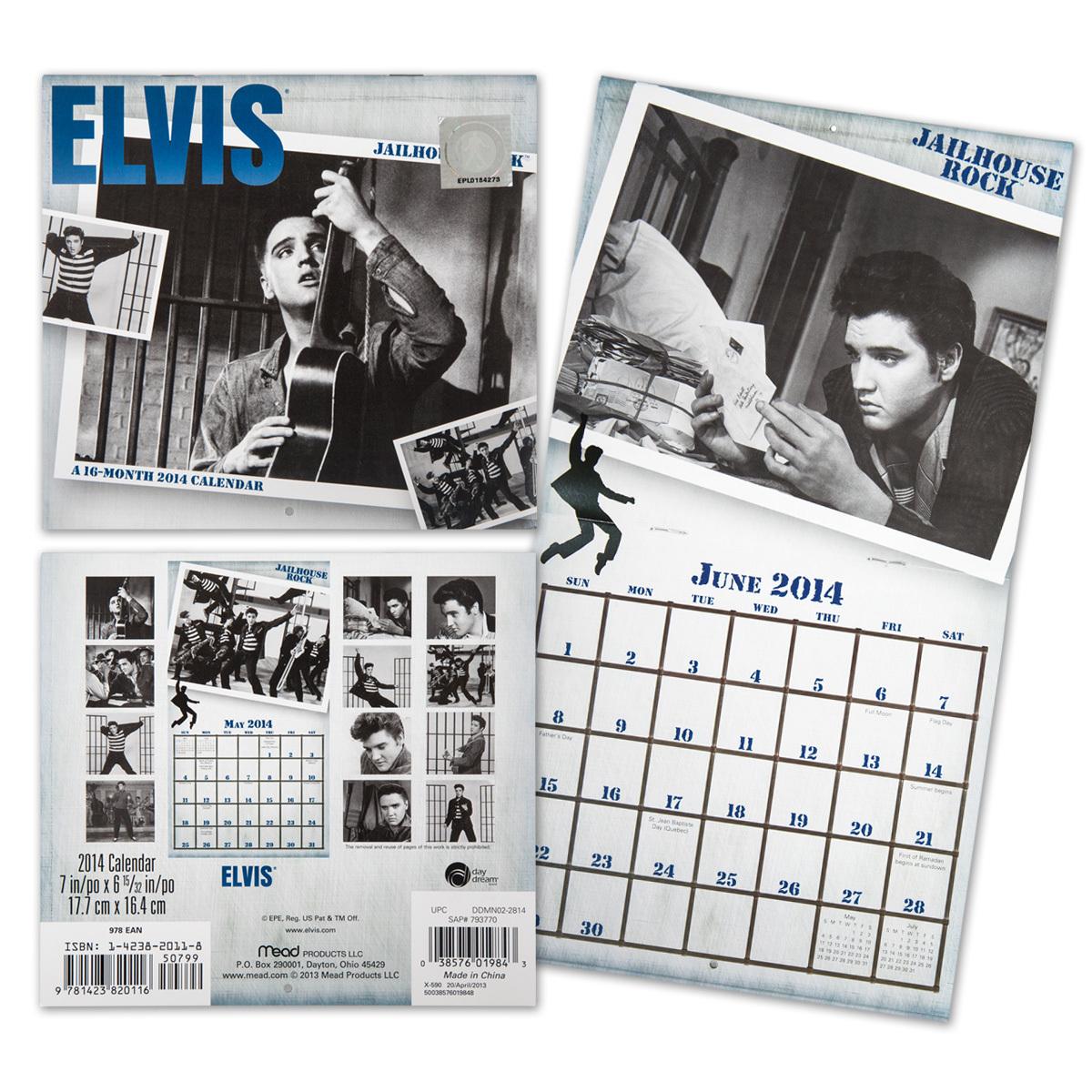 Elvis 2014 Jailhouse Rock Mini Wall Calendar