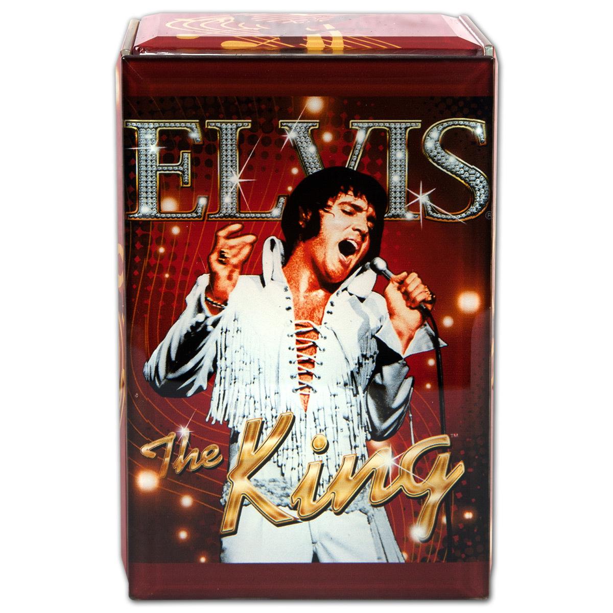 Elvis The King Glass Music Box