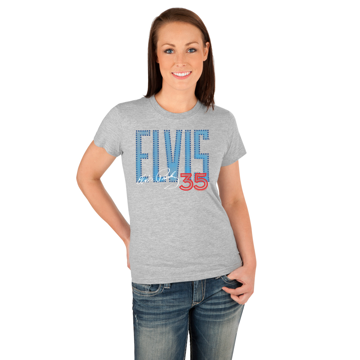 Elvis 35th Anniversary Blue Block Ladies T-Shirt