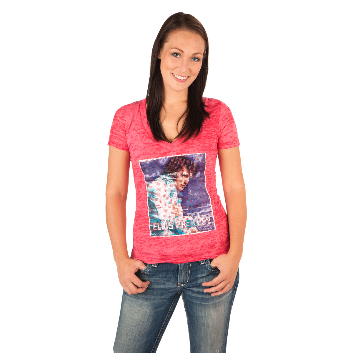 Elvis 35th Anniversary Ladies V-Neck Sequin T-Shirt