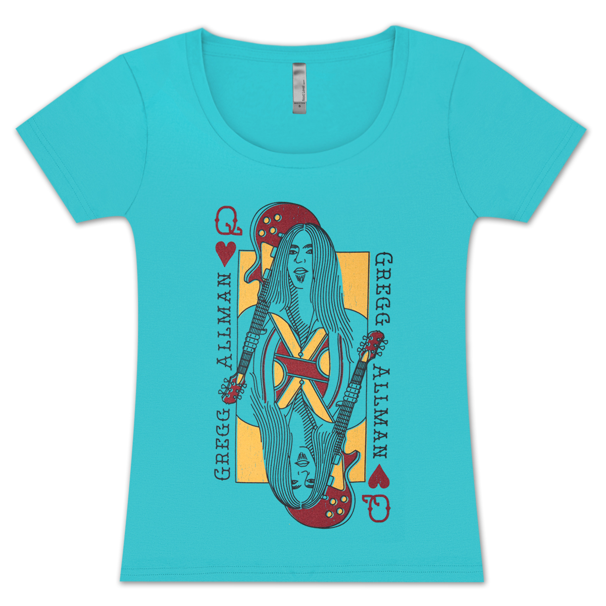 Gregg Allman Queen Of Hearts Ladies Sceep V-Neck