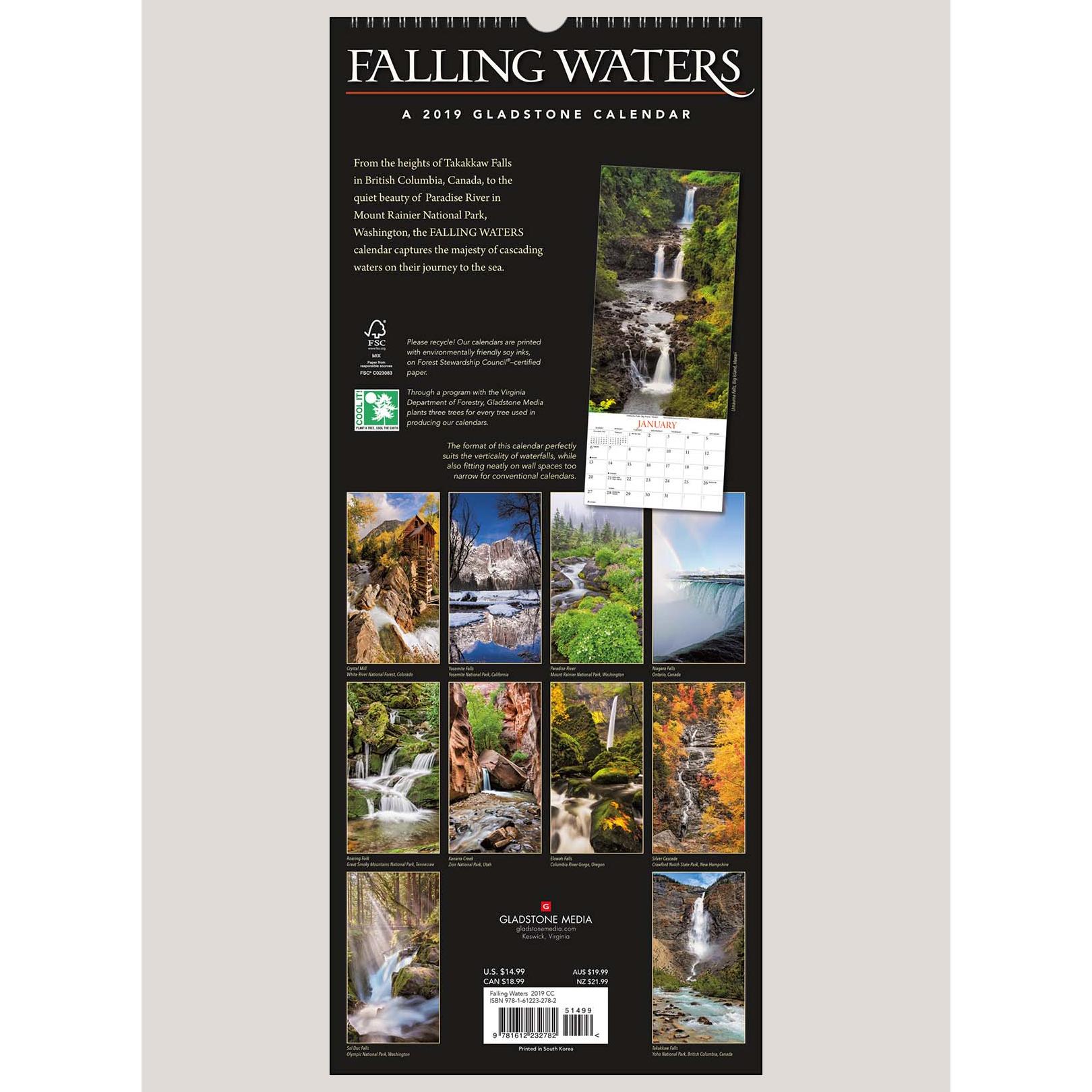 "2019 Falling Waters 9"" x 22"" VERTICAL WALL CALENDAR"