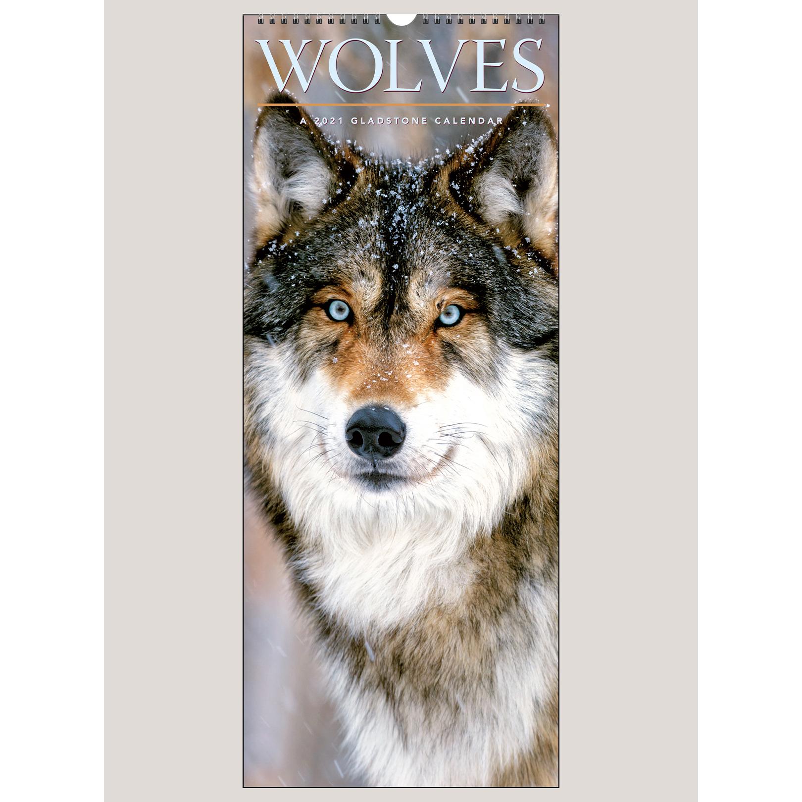 """2021 Wolves 9"""" x 22"""" VERTICAL WALL CALENDAR"""