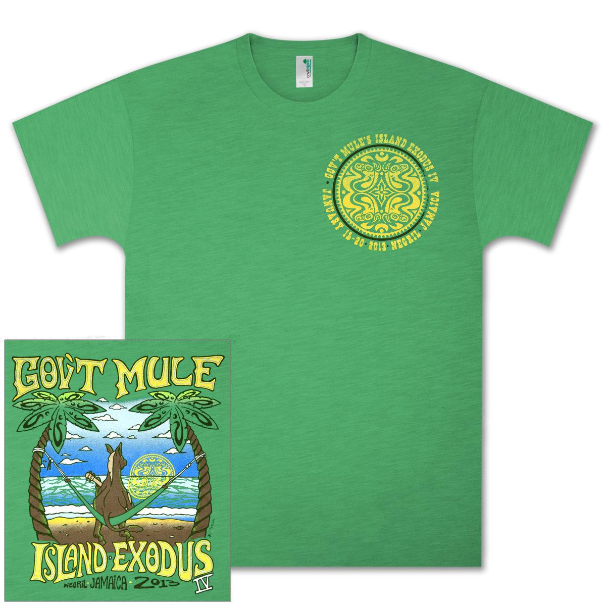 Gov't Mule Island Exodus 2013 IV Lime Green T-Shirt
