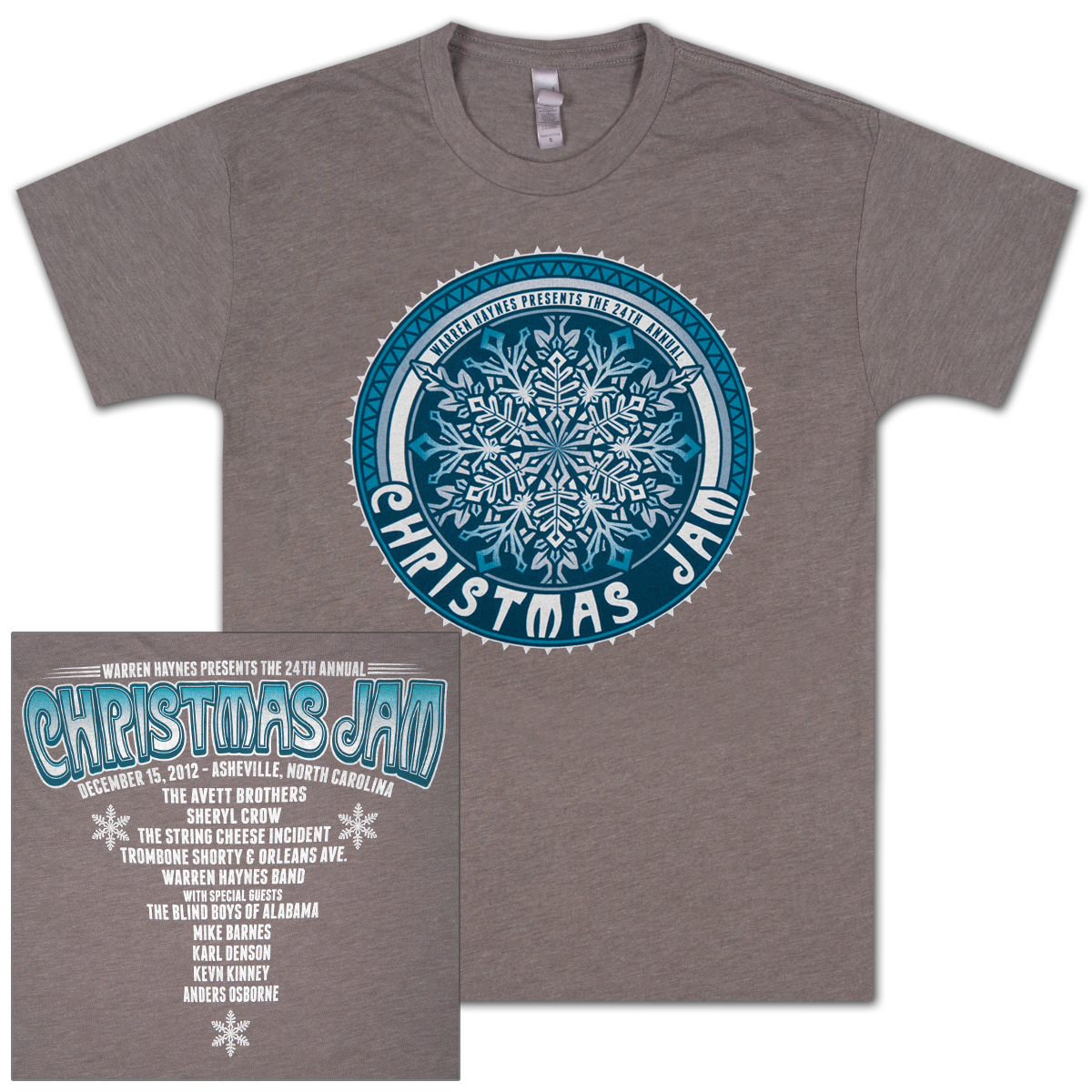 "Warren Haynes 2012 Xmas Jam ""Retro Snowflake"" Ladies Logo Shirt"