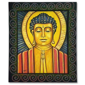 """Buddha"" Painting by Josephine Wallis (27 x 31)"