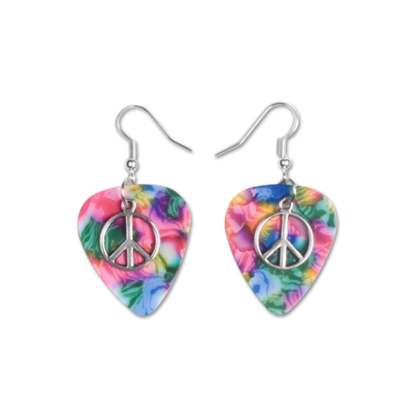 Pink Peace Charm Pick Earrings
