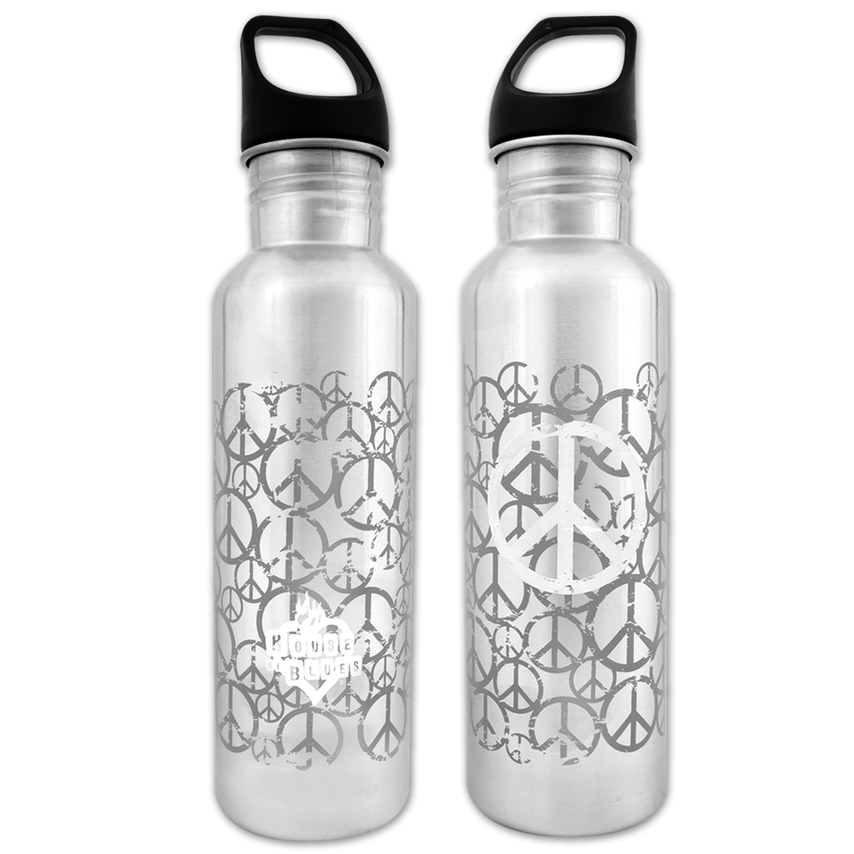 House of Blues Silver Peace Water Bottle
