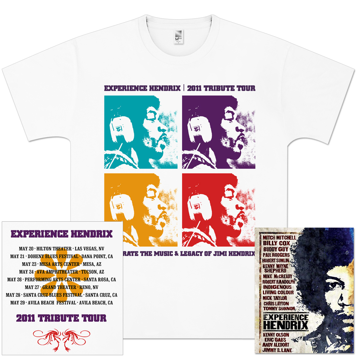 Experience Hendrix 2011 Tour Quads T-Shirt + DVD Bundle
