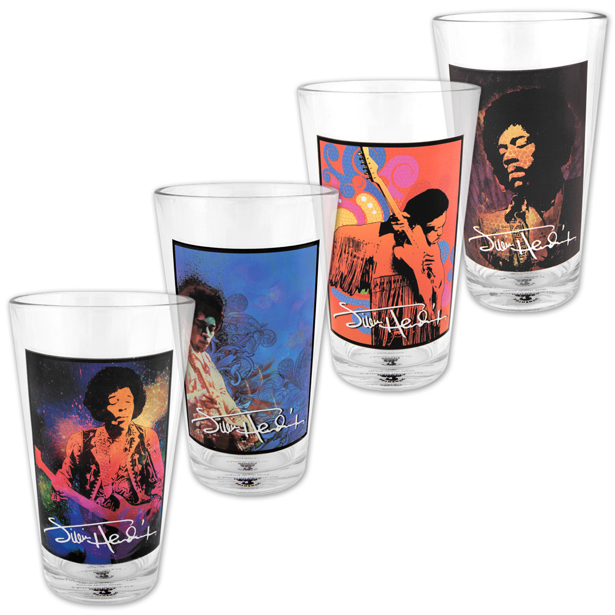Jimi Hendrix 4-Piece 16oz Glass Set
