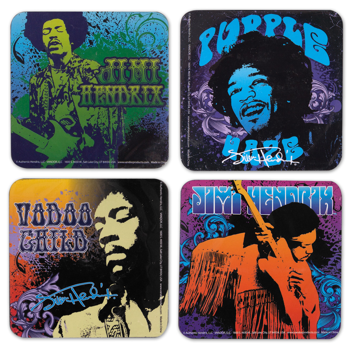 Jimi Hendrix 4-Piece Wood Coaster Set