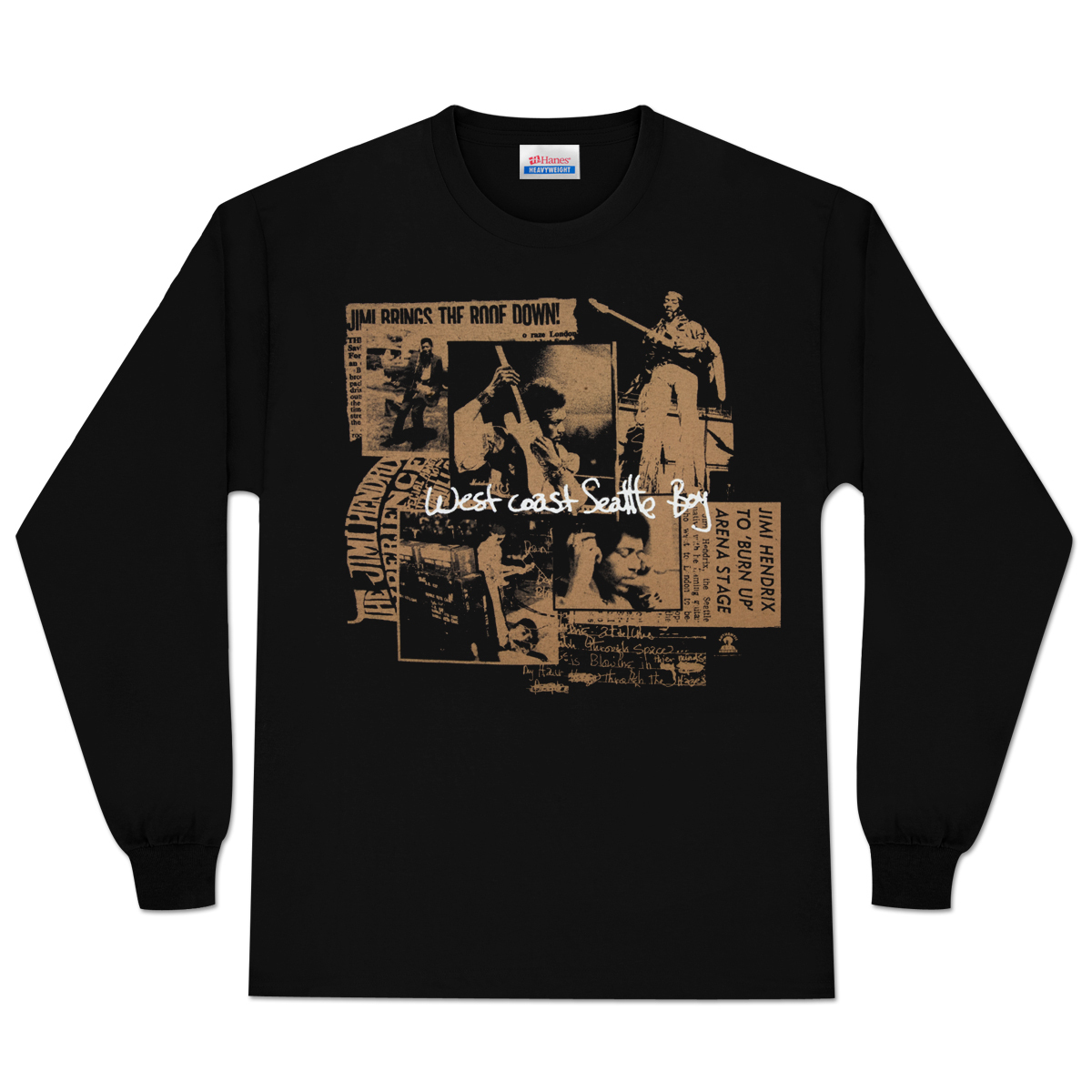 Jimi Hendrix Seattle Boy Long Sleeve T-Shirt (Gold)