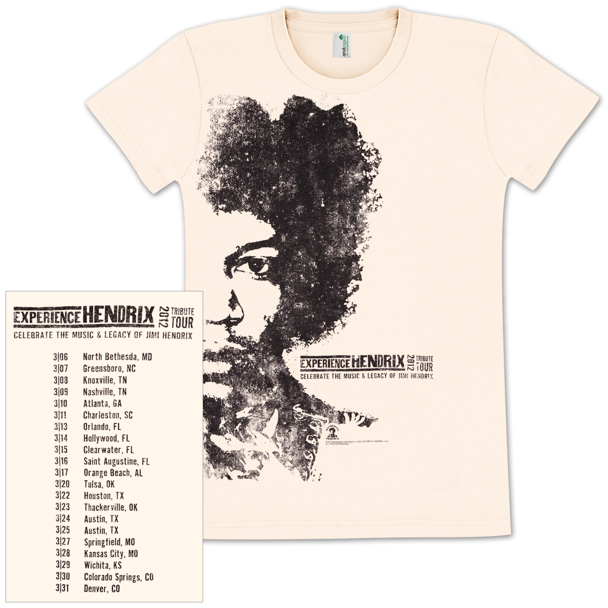 Experience Hendrix 2012 Tour Ladies T-shirt