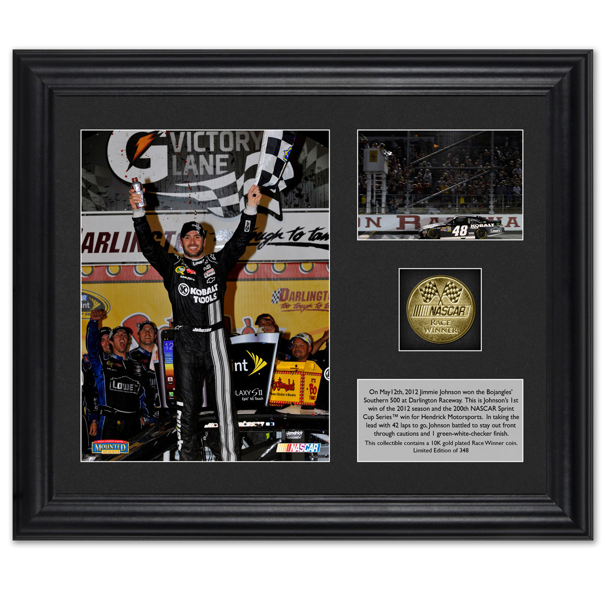 Jimmie Johnson Darlington WIN 6x8 Framed Photo w/ Coin
