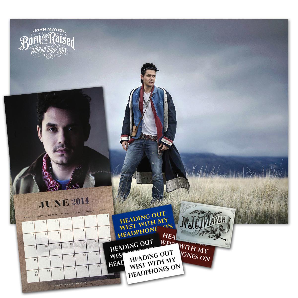 John Mayer 2014 Wall Calendar and Tour Poster Combo