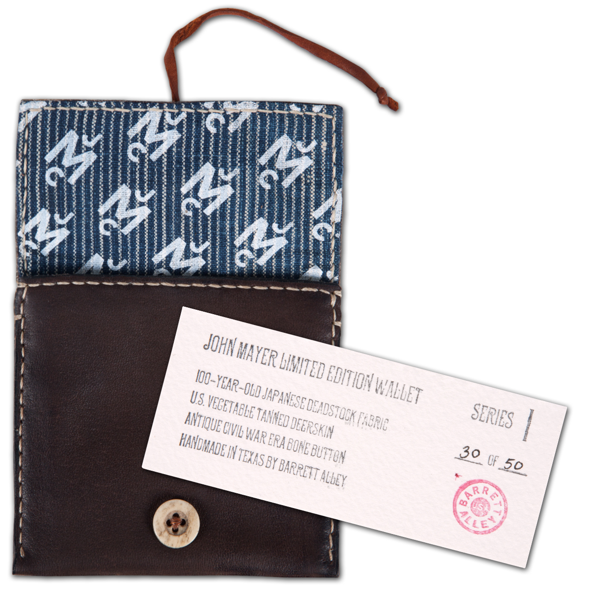 Barrett Alley X John Mayer Wallet Brown/Blue Stripe