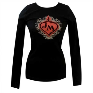 John Mellencamp Eden Is Burning Flaming Heart Ladies Long Sleeve Shirt