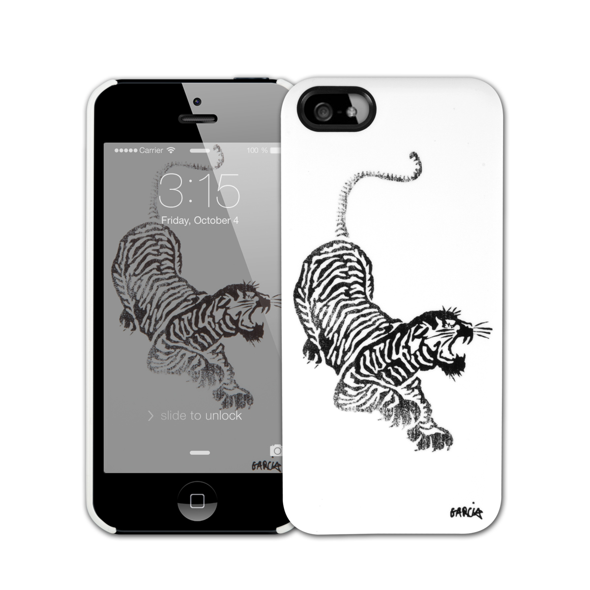 Jerry Garcia Tiger iPhone 5/5s Case White w/ Black Tiger