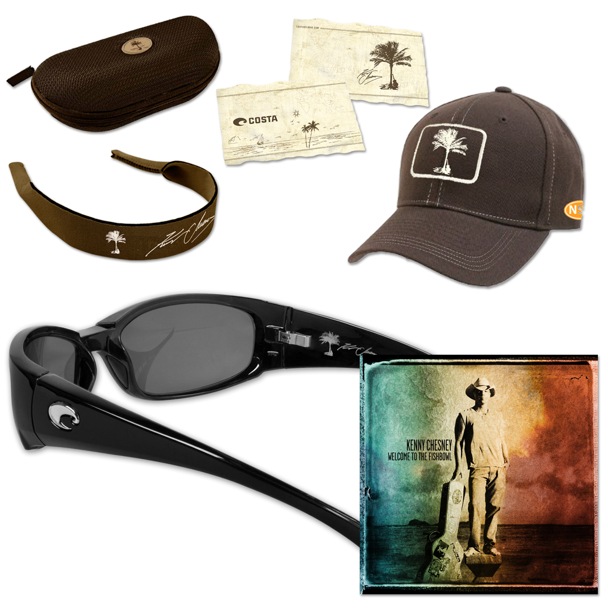 Kenny Chesney Welcome to the Fishbowl Sunglasses CD or MP3 with Hammerhead Sunglasses - Black Frame/Grey 580P Lens