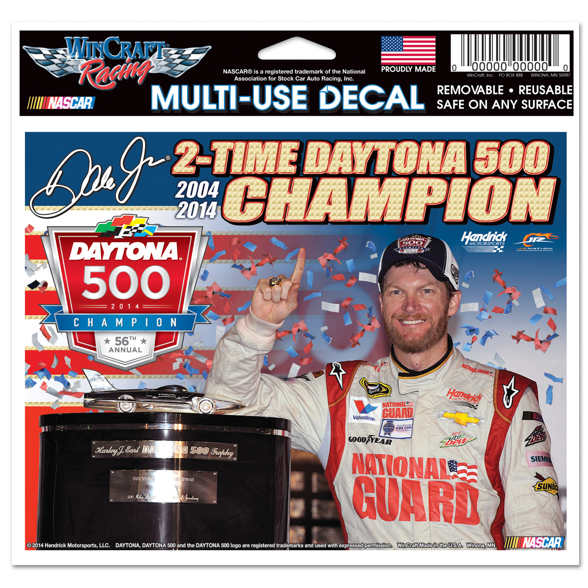 "Dale Jr. 2014 Daytona 500 4X6"" Multi Use Decal"