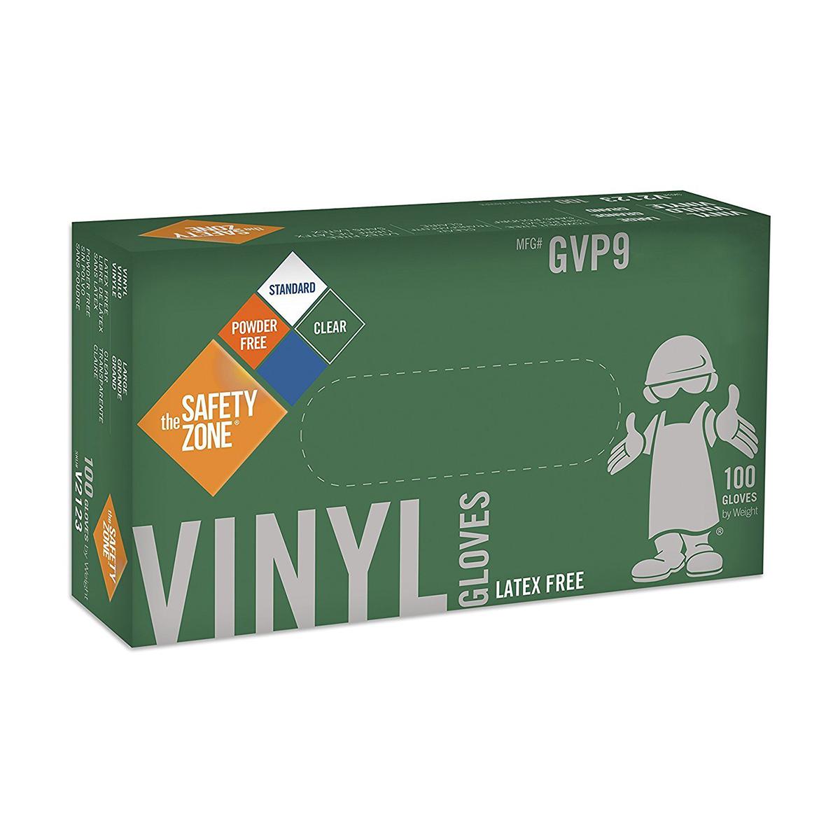 Safety Zone GVP9 Clear Vinyl Gloves, Large, 100/BX