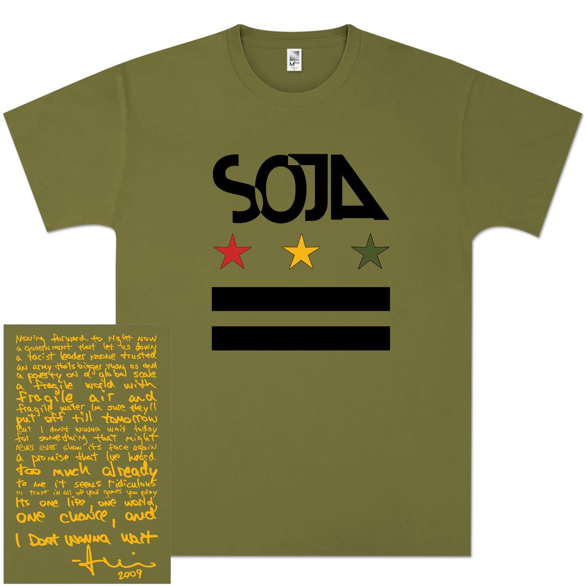 SOJA - Olive Stars & Bars Tee