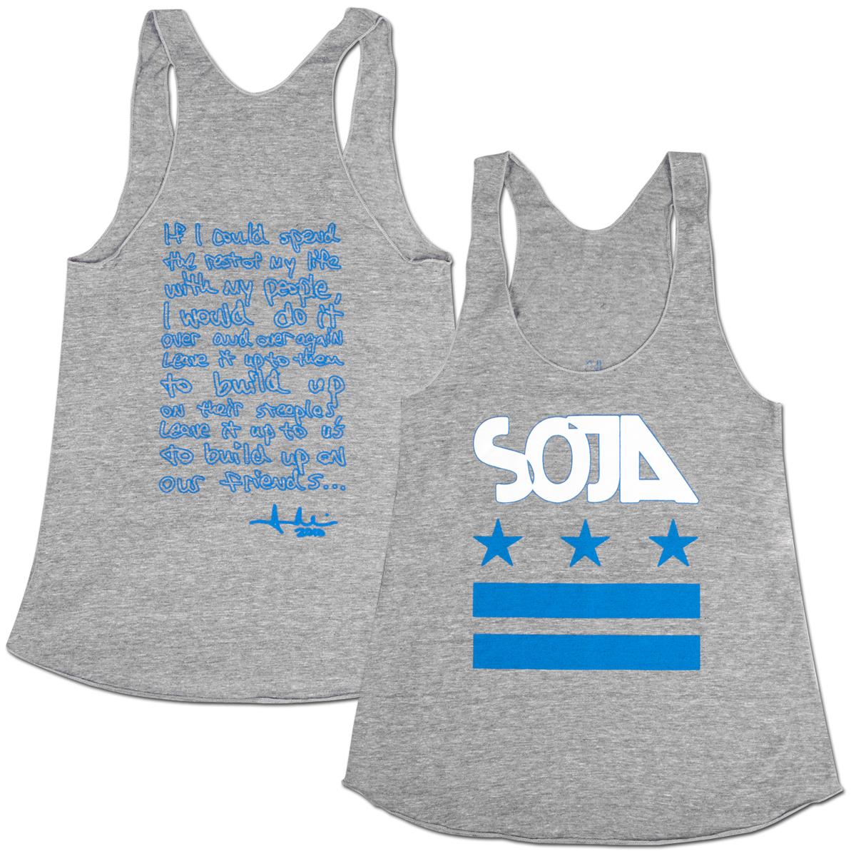 SOJA - Stars & Bars Tri-Grey Ladies Cut Tank