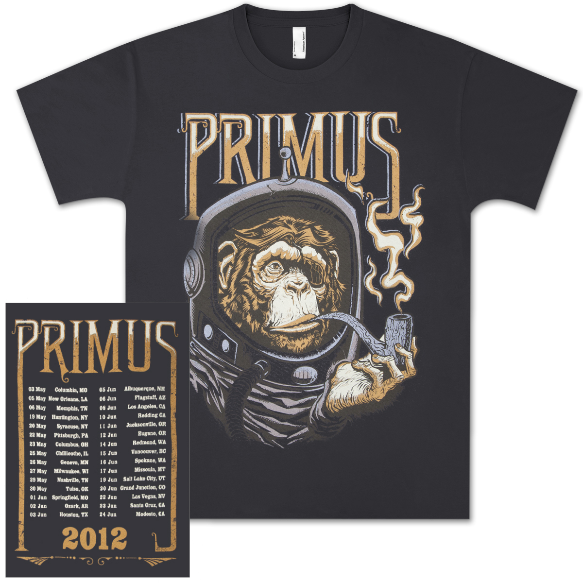 Primus 2012 North American Tour T-Shirt with Tour Dates
