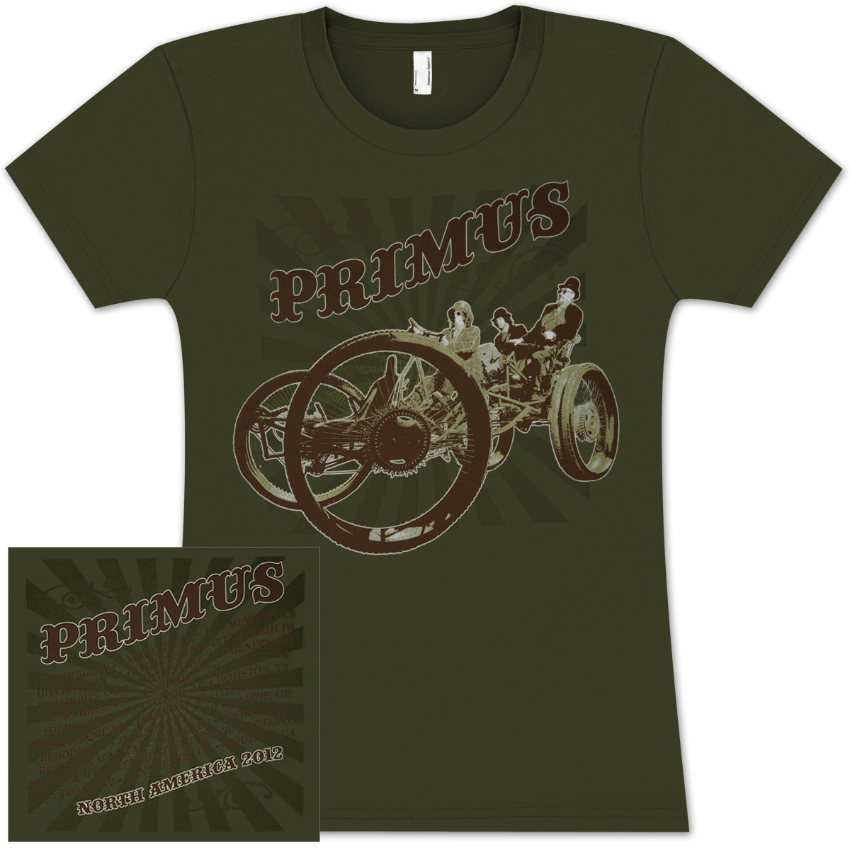 PRIMUS 2012 North American Tour Ladies T-shirt (Spring/Summer Dates)