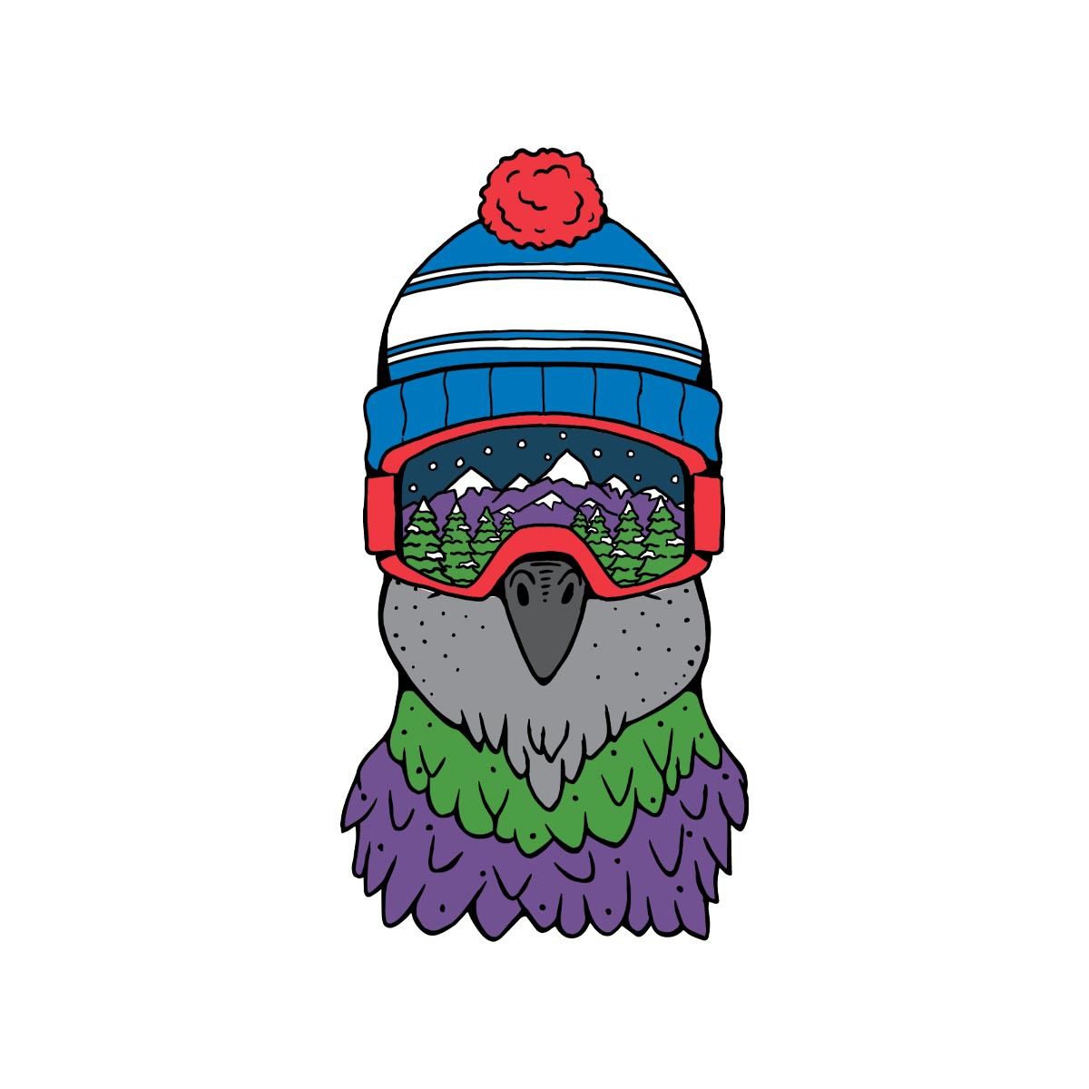Goggle Bird Sticker