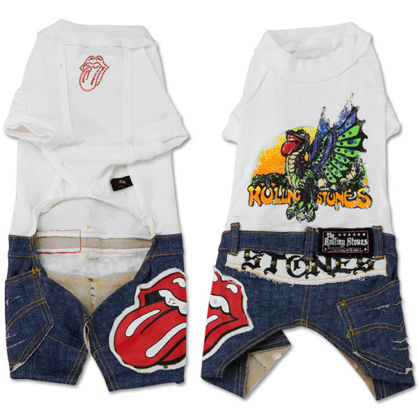 Rolling Stones - White Doggie Shirt w/ Jeans