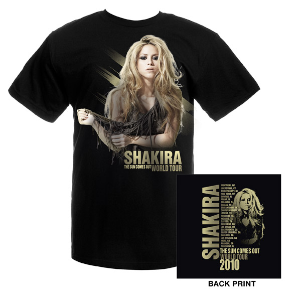 Shakira Official Sun Comes Out Tour Tee