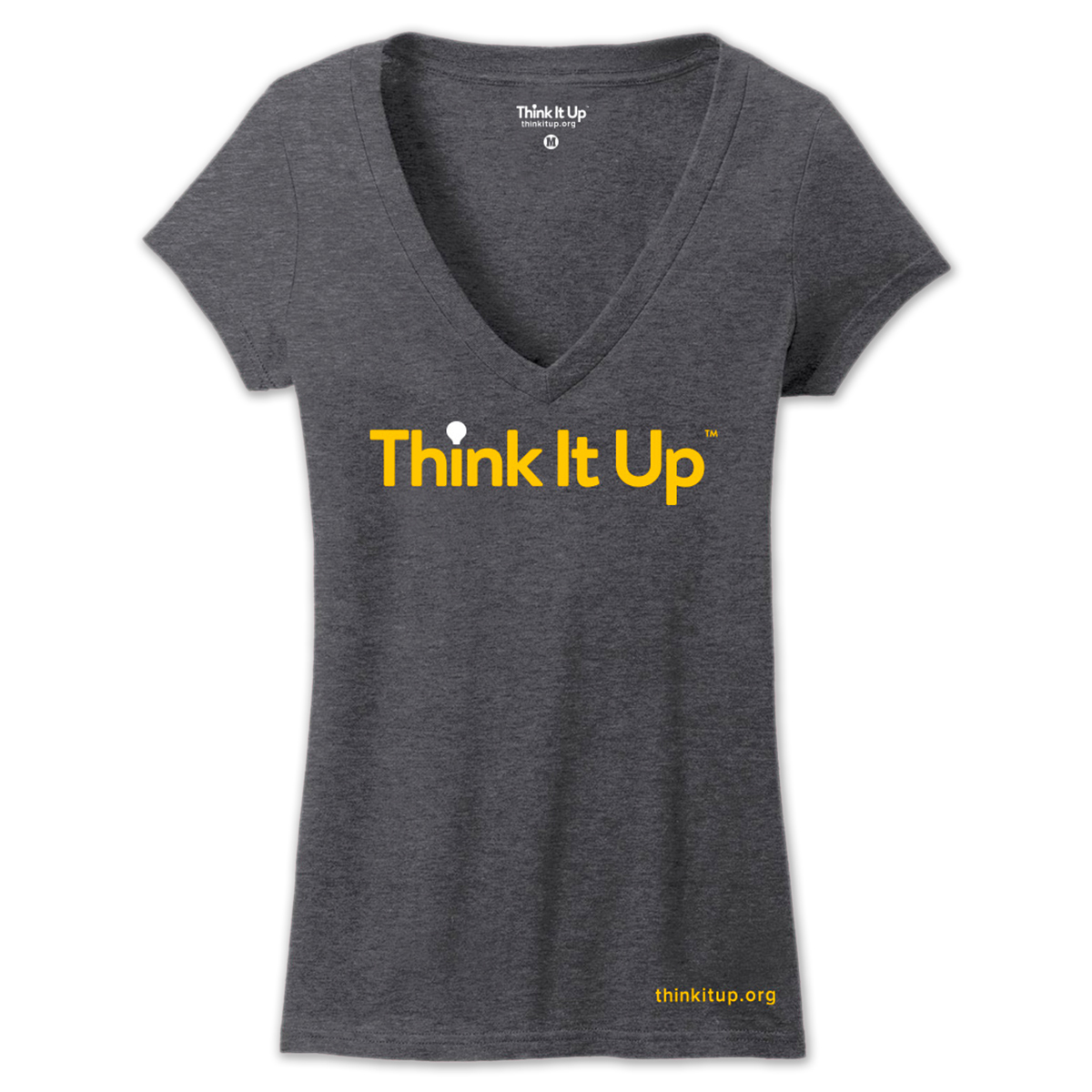 Think It UP Ladies Soft Style Deep V-Neck T-Shirt (Charcoal)