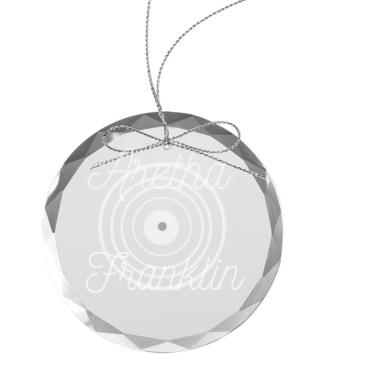 Grooves Logo Round Laser-Etched Glass Ornament