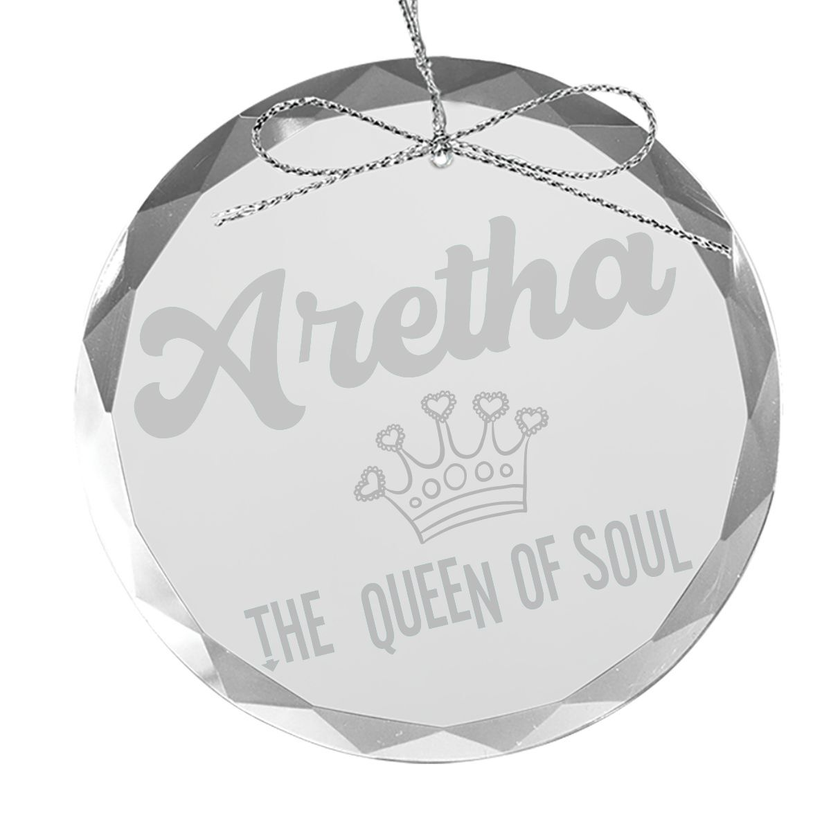 Queen Of Soul Round Laser-Etched Glass Ornament