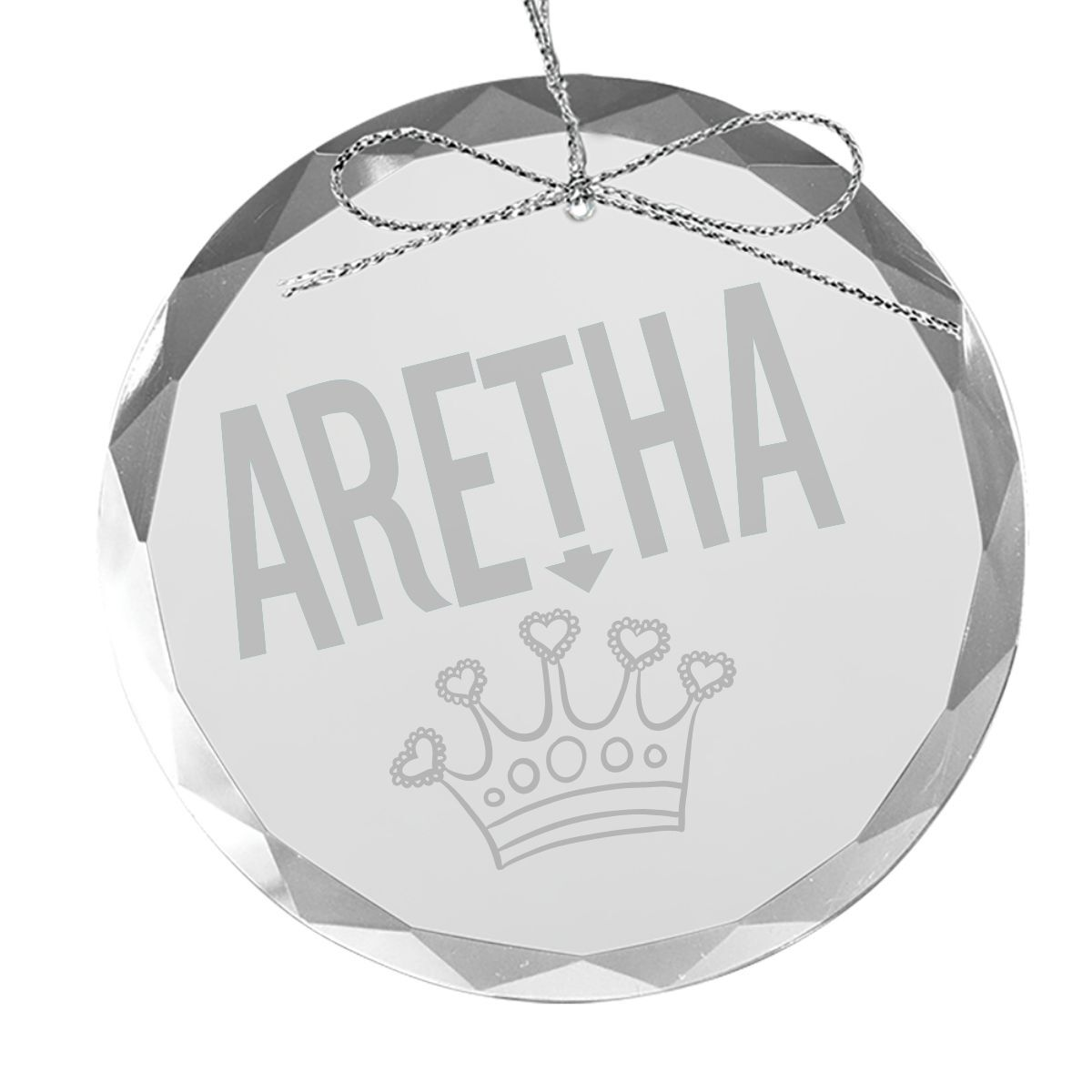 Stereo Crown Round Laser-Etched Glass Ornament