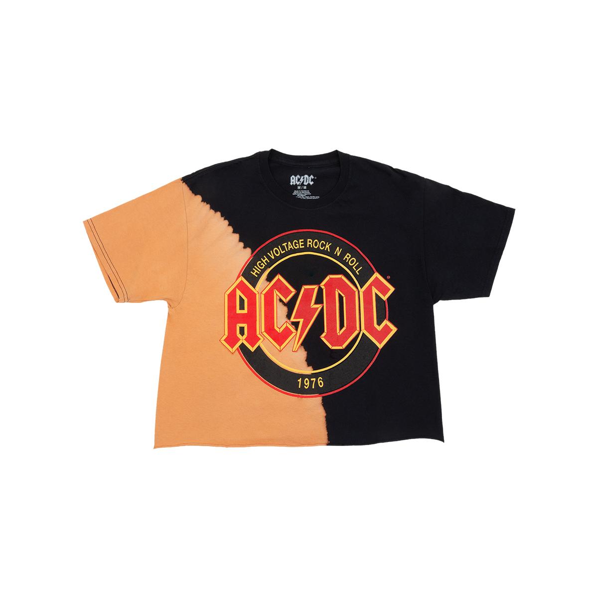 AC/DC - High Voltage Bleached Black Crop Top