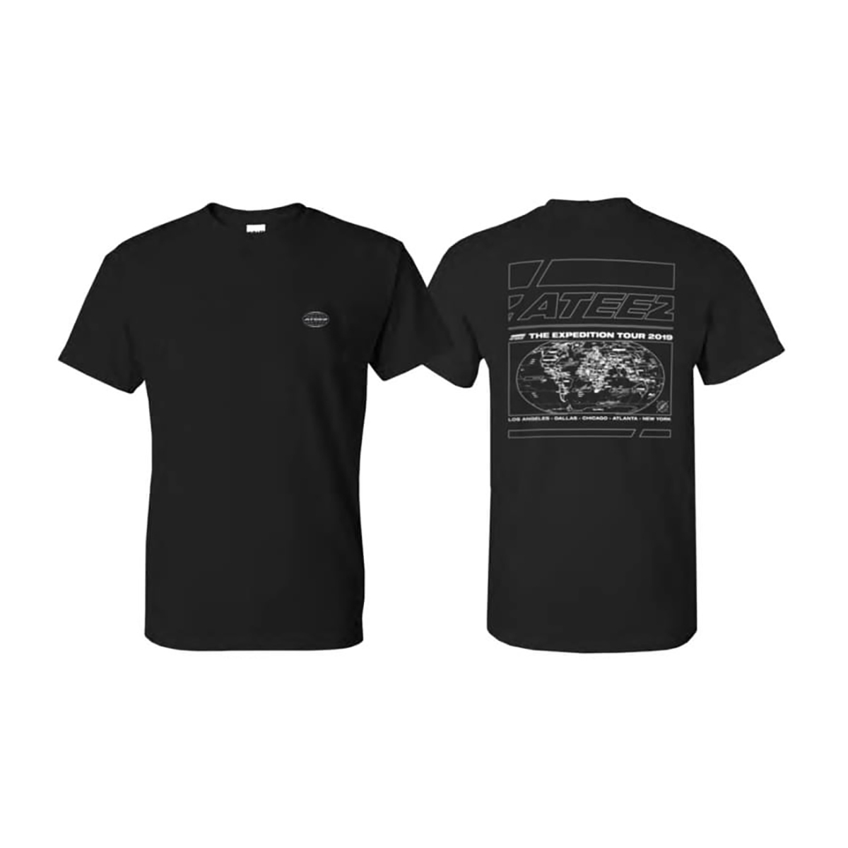 Black 'The Expedition Tour' Tshirt - With Cities